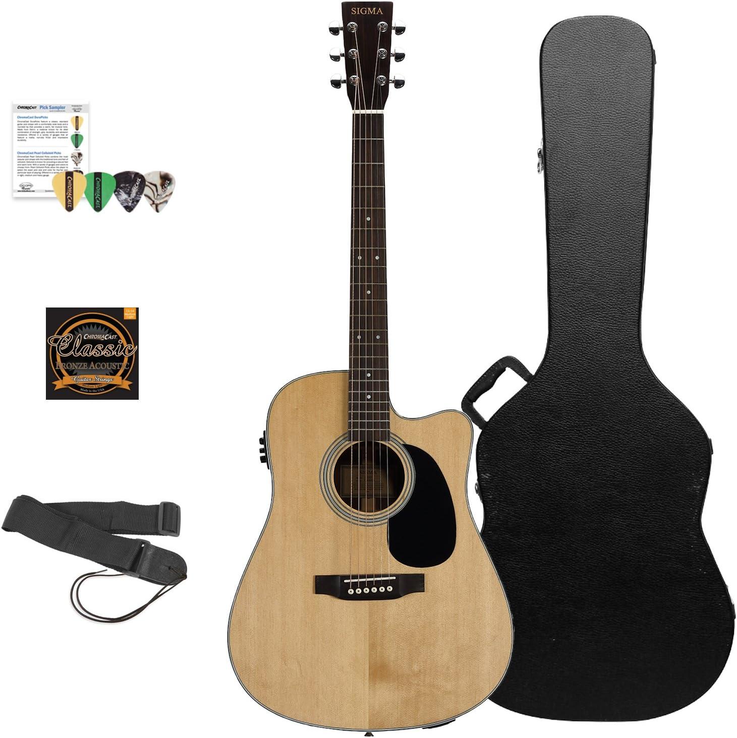 Sigma guitarras sd28ce-kit 3 guitarra electroacústica, Natural Kit ...