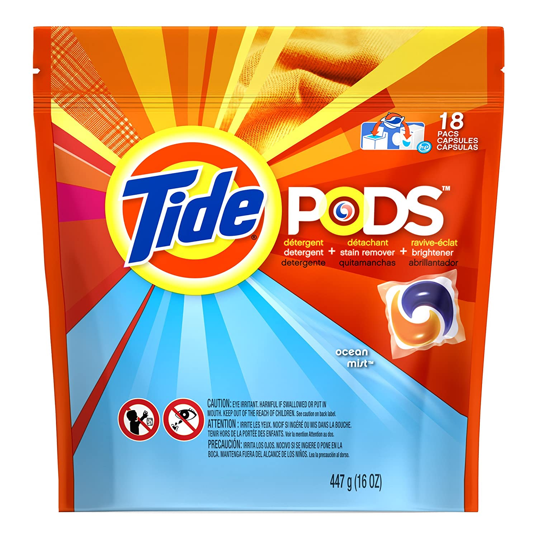 Tide Pods Laundry Detergent Ocean Mist Scent 18 Count