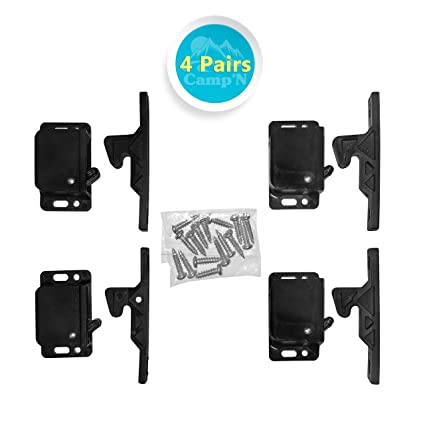 Camp'N -4 Pair- Push Catch - Latch - Grabber - Holder RV Cabinet Doors  Mounting Hardware - 5 lbs Pull Force - Perfect RV, Trailer, Camper, Motor  Home,
