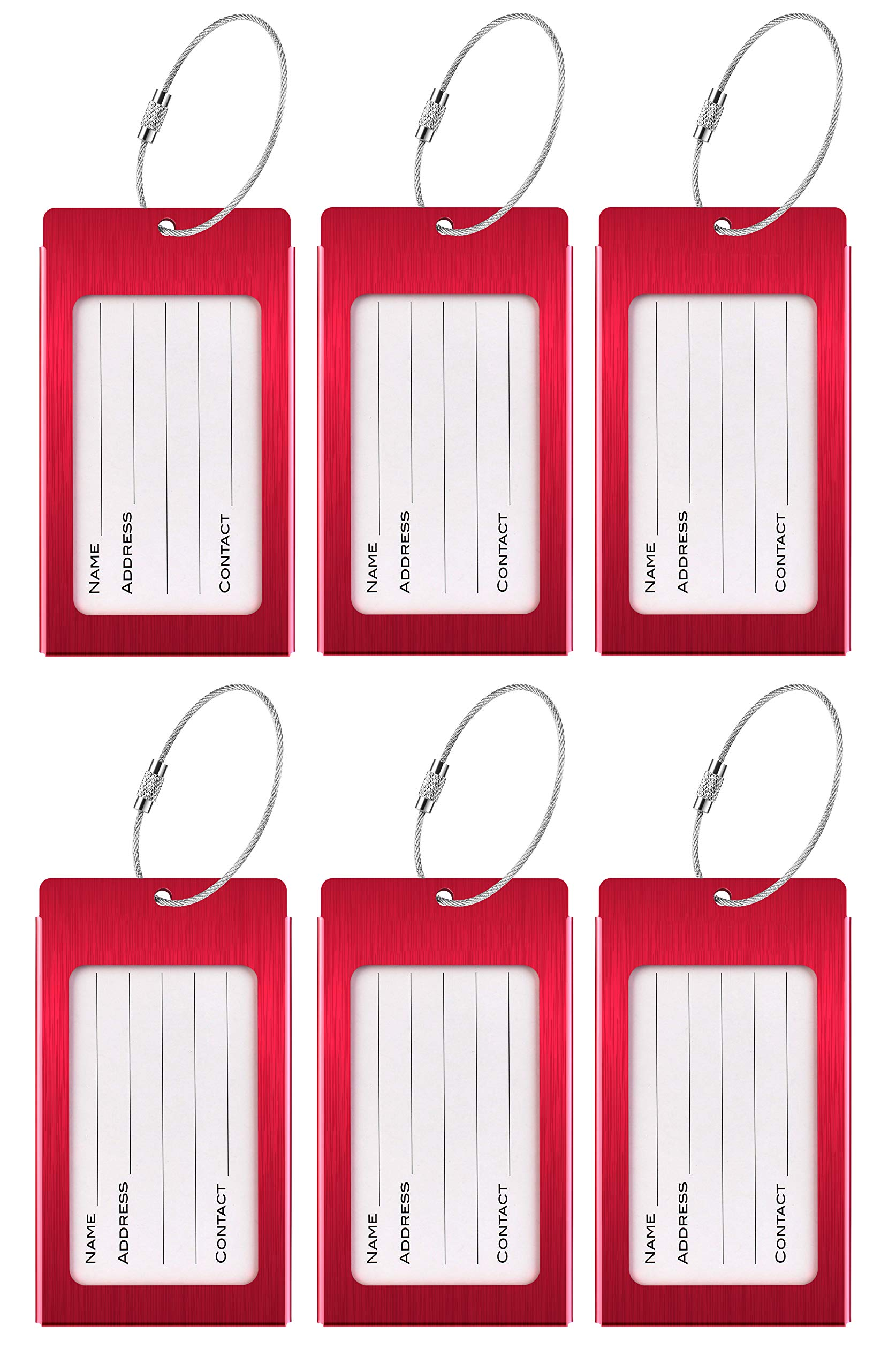 Luggage Tags, LLFSD Metal Suitcase Tags Travel Bag ID Identifier Luggage Tag (Red 6-Pack)