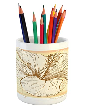 Amazoncom Ambesonne Floral Pencil Pen Holder Large Hibiscus