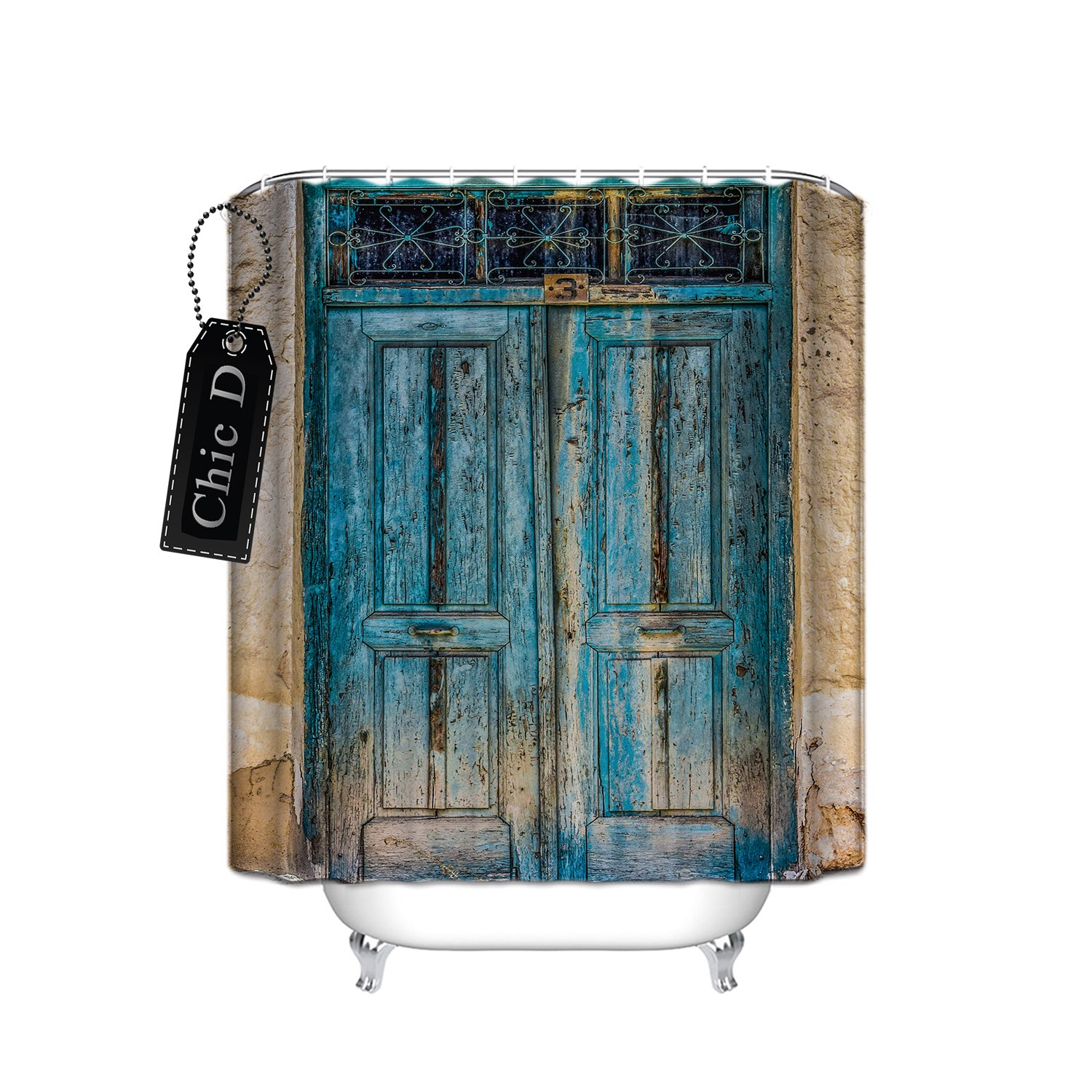 Rustic Country Barn Wood Door Waterproof Fabric Extra Long Shower Curtain 72 x 78 Inch -Antique Theme
