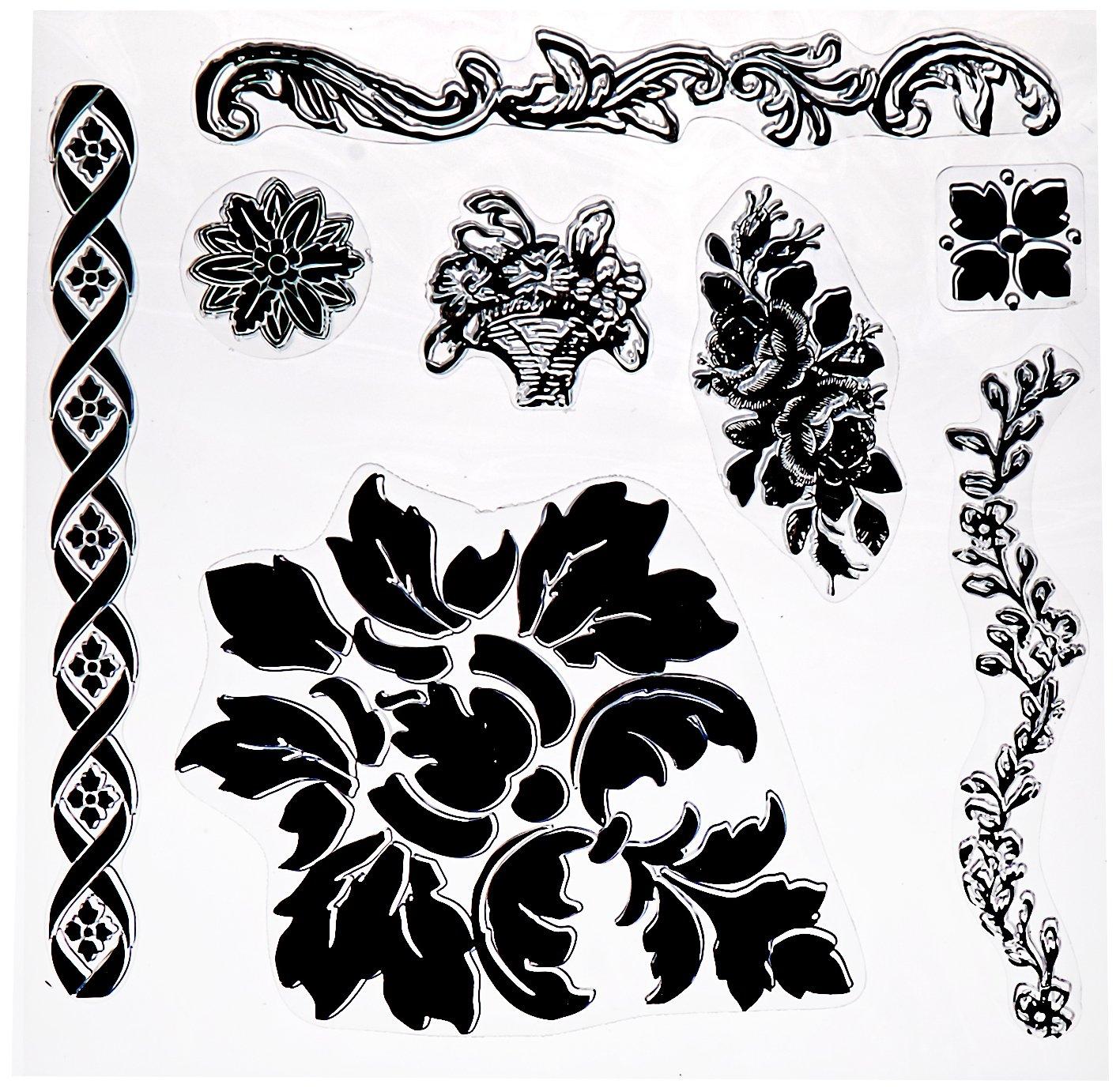 Prima Marketing 814342 Fleur Iron Orchid Designs Decor Stamps, Clear Prima Maketing Inc