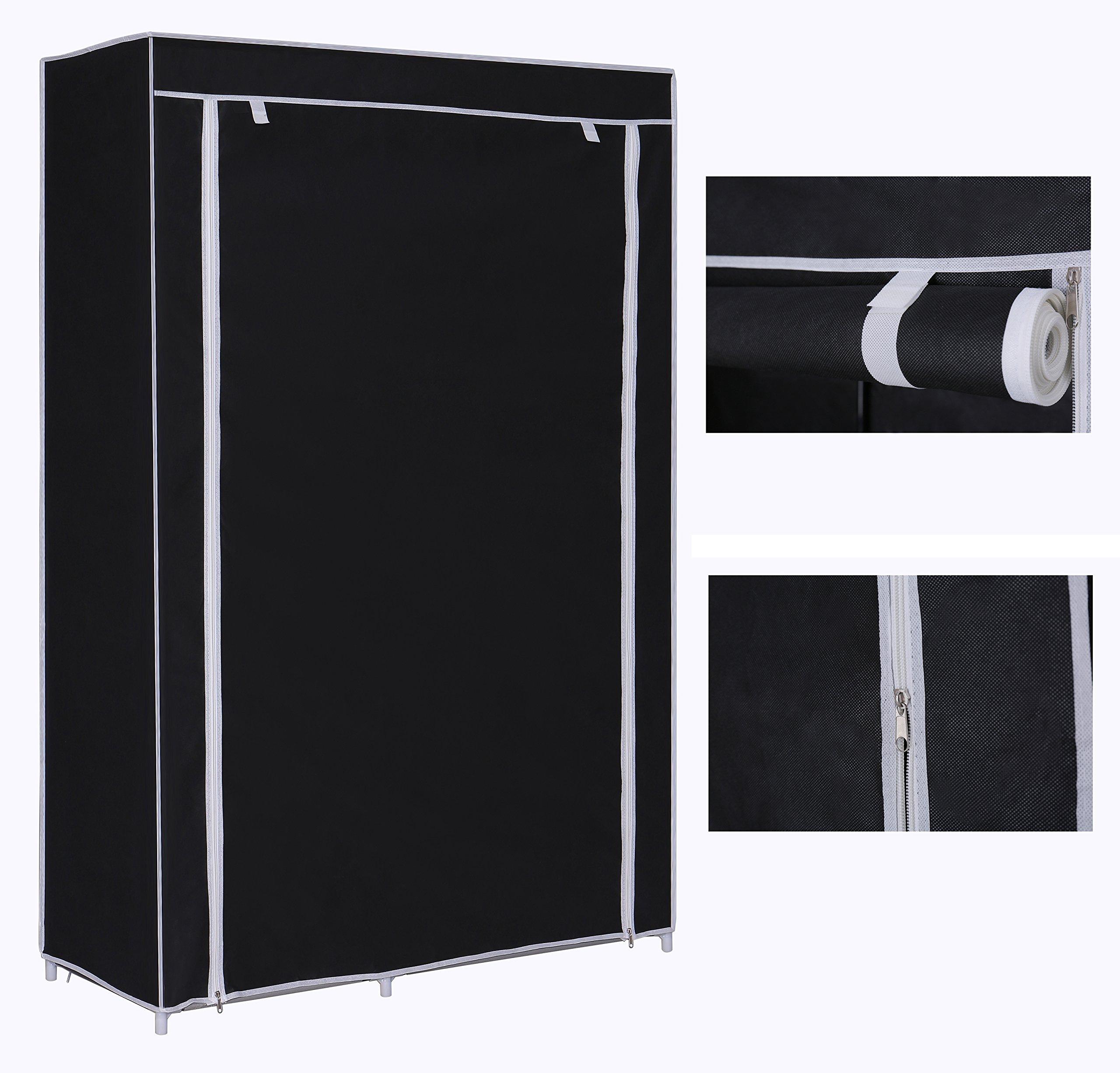 Home Like Portable Cloth Closet Storage Wardrobe Armoire Temporary Closet  Handy Clothes Closets Non Woven Fabric Wardrobe Clothing Storage Organizer  Black ...