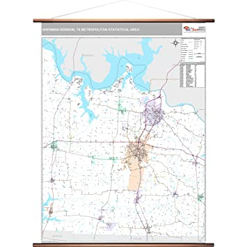 Amazon.com: MarketMAPS Sherman Denison, TX Metro Area Wall Map