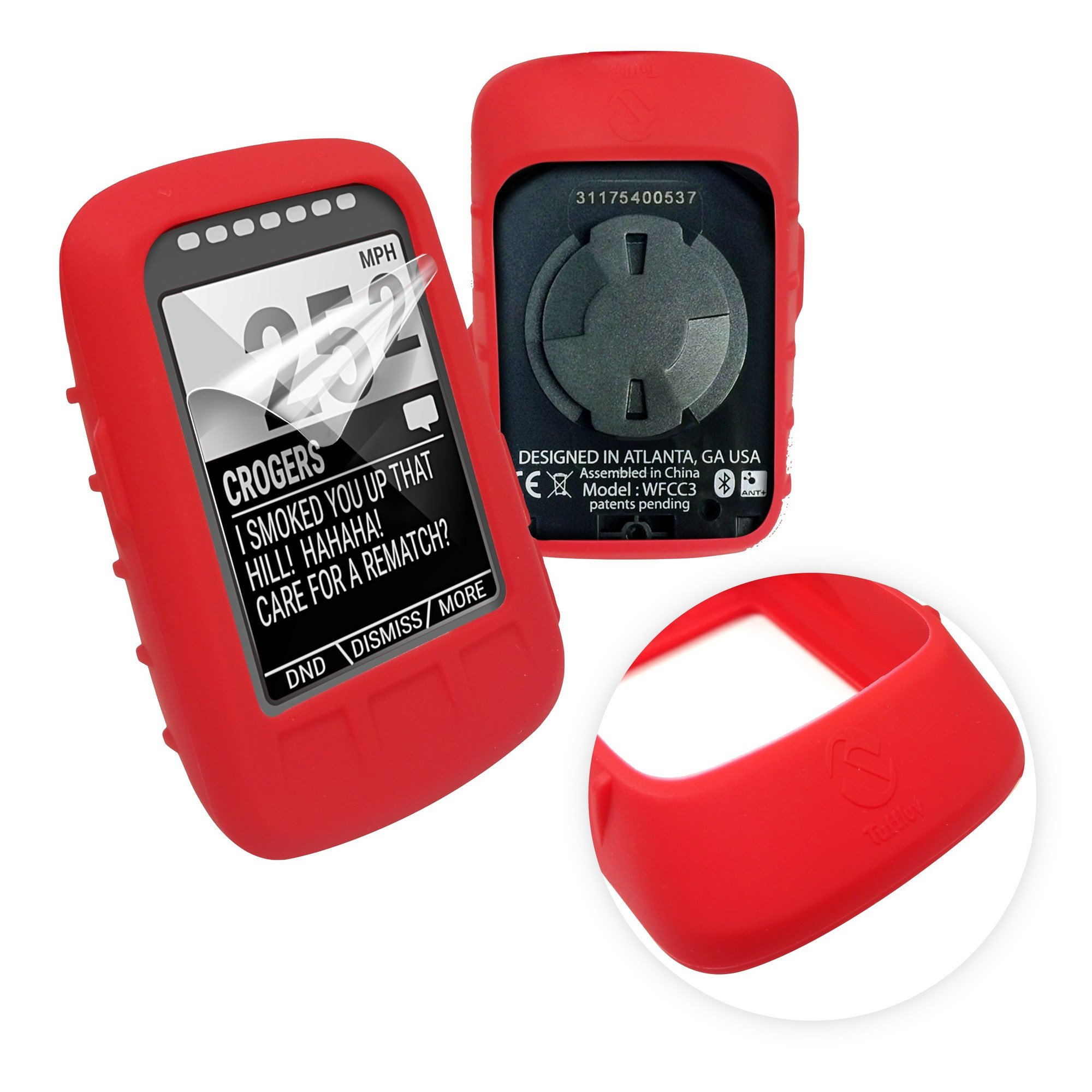 Tuff-luv Silicone Gel Skin Case & Screen Cover Protection for Wahoo Elemnt Bolt - Red