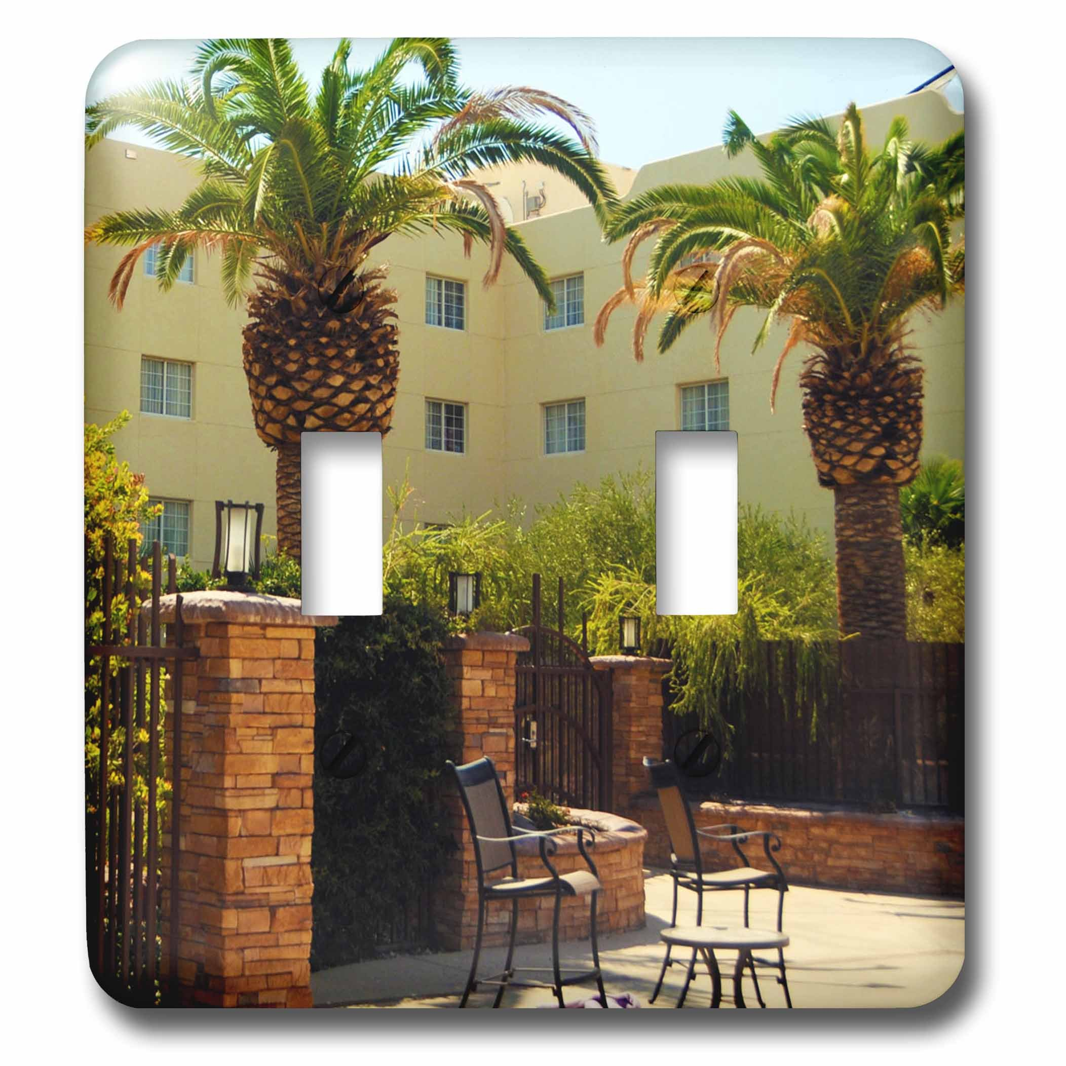 3dRose Jos Fauxtographee- Palms at Hotel - A hotel in Mesquite Nevada with palm trees and chairs - Light Switch Covers - double toggle switch (lsp_273463_2)