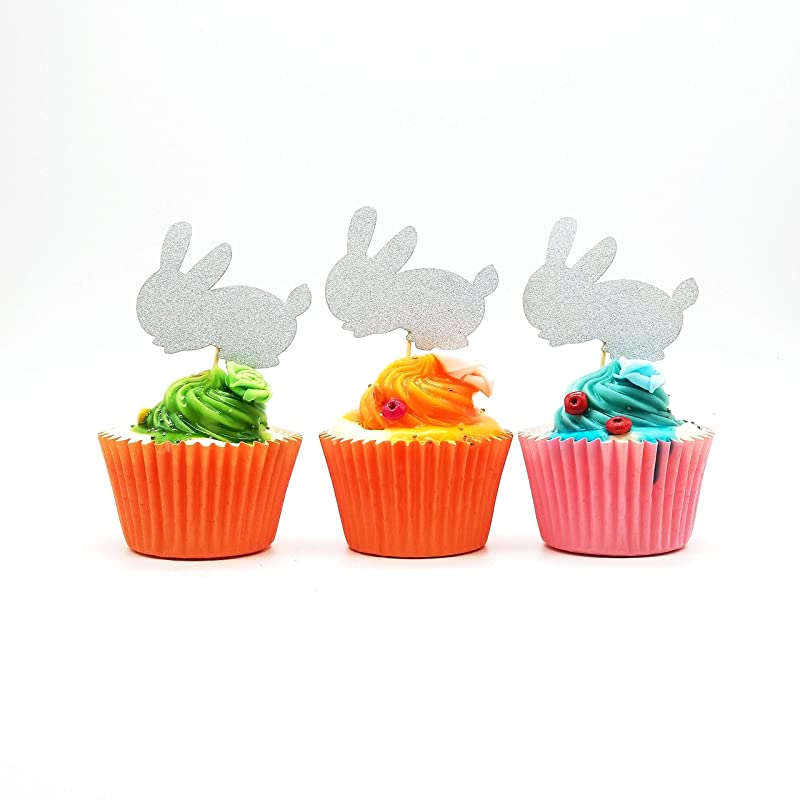 Glitter Silver Easter Bunny Rabbit Dessert Cupcake Toppers-Pack Of 20-DSCCT-110A