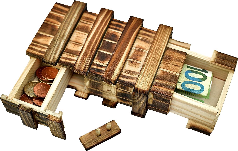 Caja de regalo mágica de madera para dinero, caja de regalo grande con 2 compartimentos secretos para dinero, vales, joyas, mstery juegos de ajo, regalo de boda o cumpleaños