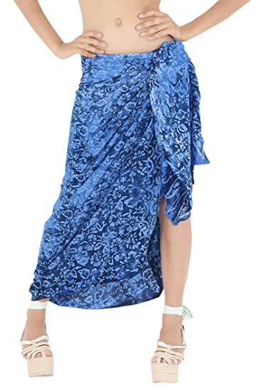 "94e4281166a579 LA LEELA Rayon Swimsuit Cover Up Tie Slit Sarong Printed 78""X43""  ..."
