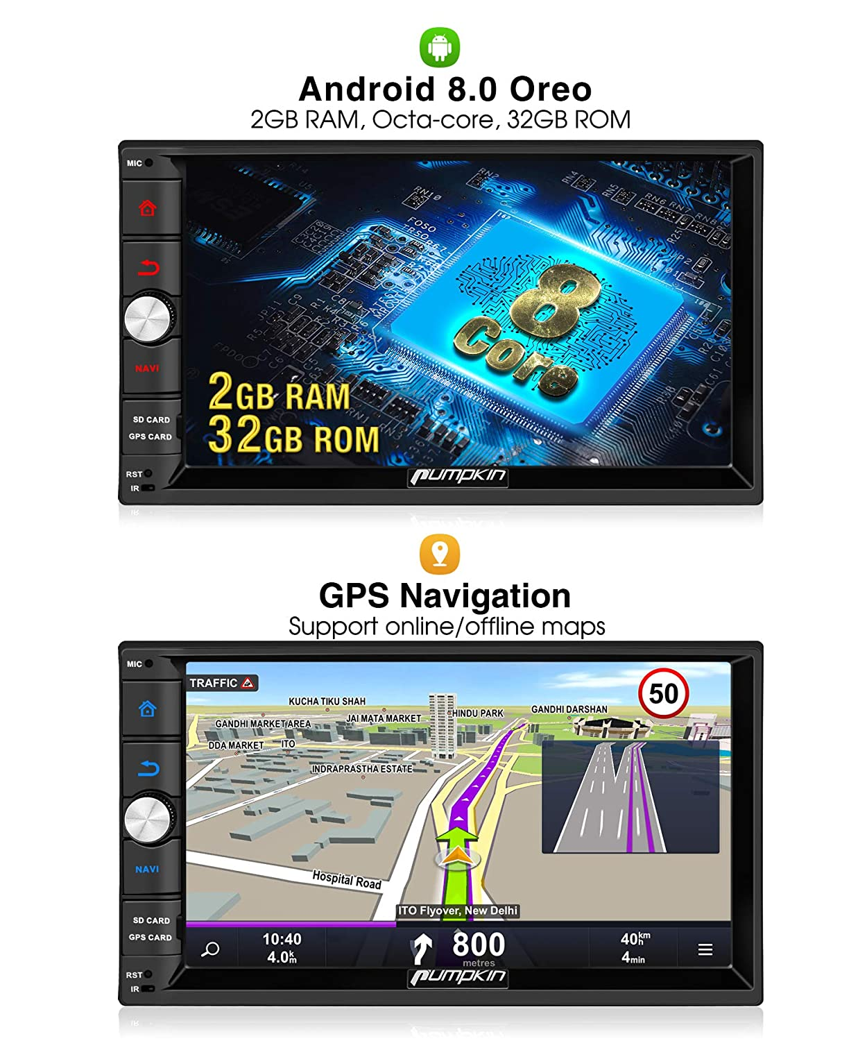 PUMPKIN Android 8 0 Car Stereo Radio Double Din with GPS Navigation, WiFi,  Android Auto, Support Fastboot, Backup Camera, AUX, USB/SD, 7 inch Touch