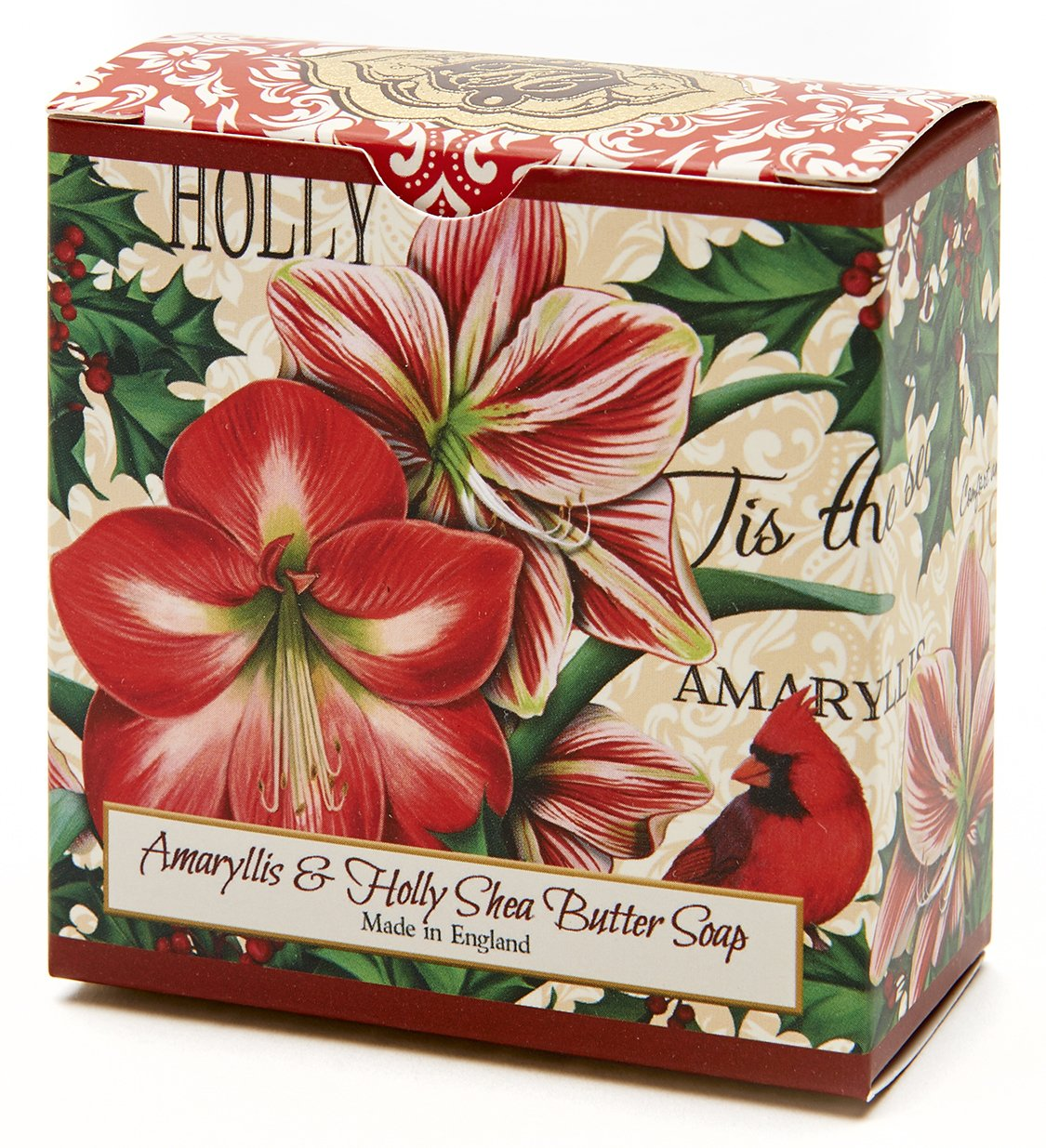 Amaryllis and Holly, Luxury Round, Beautifully Scented Shea Butter Soap Bar, Made in England, Triple Milled. Environmentally Friendly (Green). 3.5oz. TSC Giftables SPR18