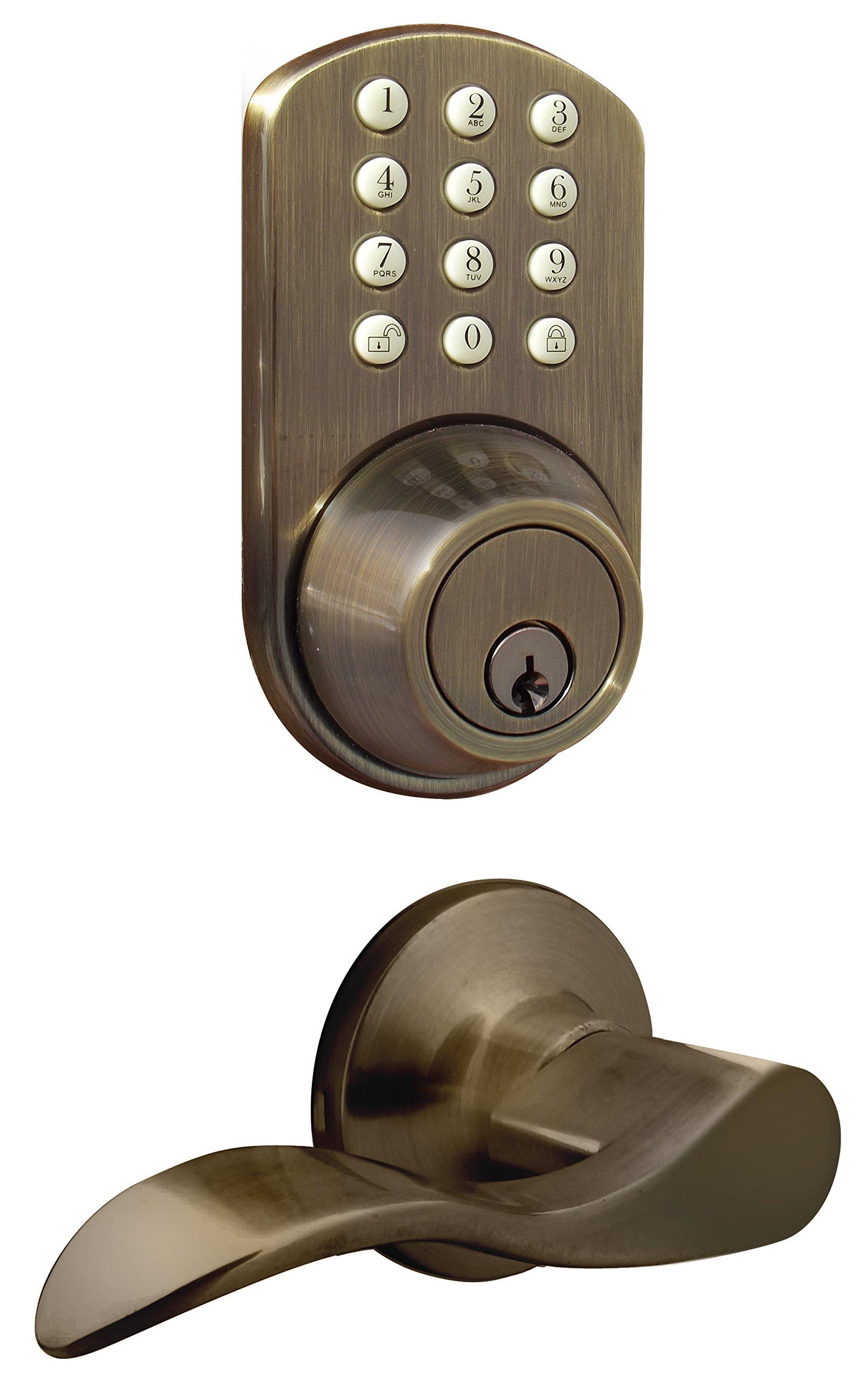 MiLocks TFL-02AQ Digital Deadbolt Door Lock and Passage Lever Handle Combo with Keyless Entry via Keypad Code for Exterior Doors, Antique Brass