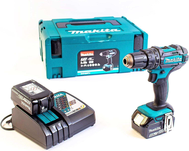 Makita DHP482RTJ - Taladradora atornilladora de percusión + 2baterías 18V 5Ah de litio + caja de herramientas - Color azul
