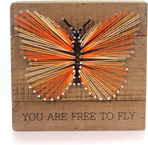 """Primitives by Kathy String Art Wood Box Sign You Are Free To Fly 8"""" Square"""