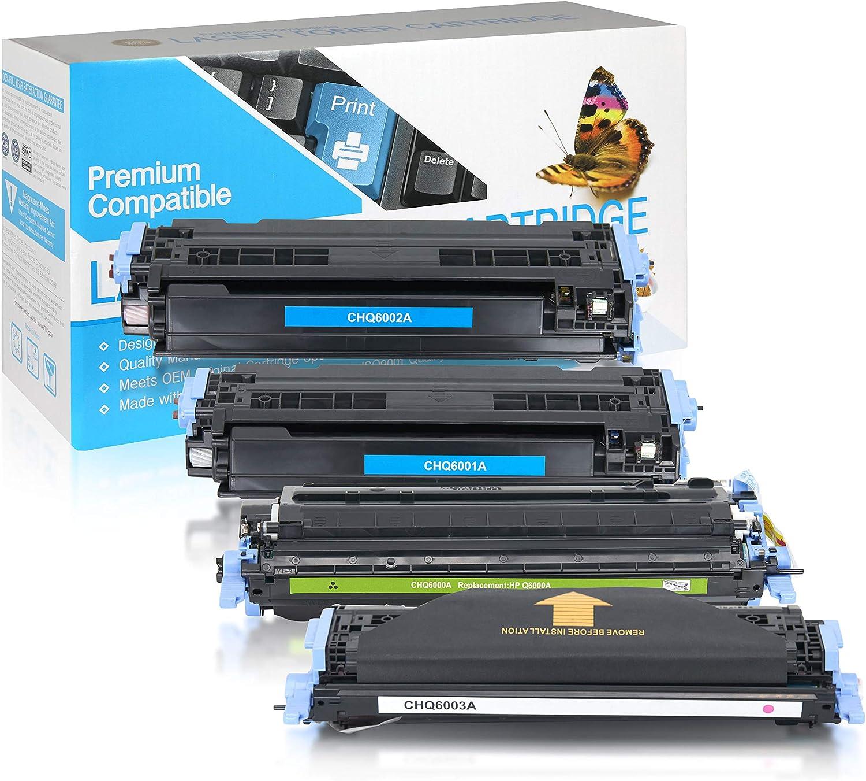 SuppliesOutlet Compatible Toner Cartridge Replacement for HP 124A / Q6000A / Q6001A / Q6002A / Q6003A (C,M,Y,K,4 Pack)