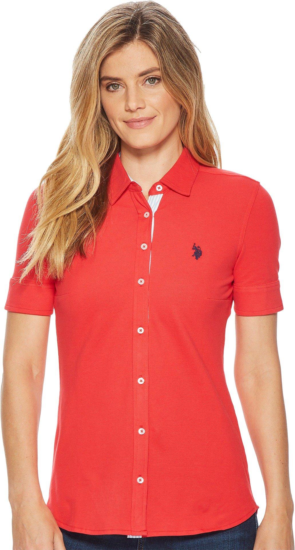 U.S. Polo Assn.. Women's Short Sleeve Fashion Blouse, Lollipop-Pique-Fhbb, L