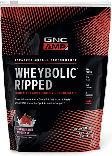 GNC AMP Wheybolic Ripped Whey Protein Powder – Strawberries and Cream, 9 Servings, Contains 40g Protein and 15g BCAA Per Serving