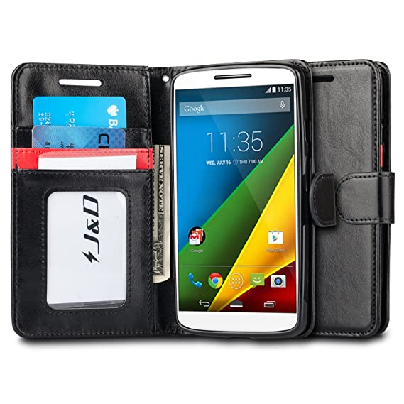 Droid Turbo 2 Case, J&D [Stand View] Moto Droid Turbo 2 Wallet Case
