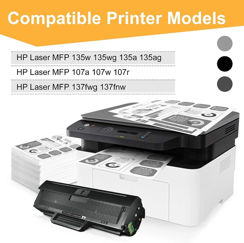 1 Negro, con Chip STAROVER Compatible para HP 106A W1106A Cartuchos de T/óner Reemplazo para HP Laser 107a 107w 107r HP Laser MFP 135a 135w 135r 135wg137fnw 137fwg