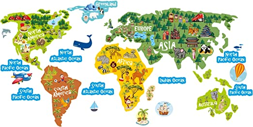 lepni.me World Map Kids Décor for Nursery, Classroom, Playroom, Childrens  Room Vinyl Sticker Continents Oceans and Animals Wall Art Decal (110 cm. /  ...