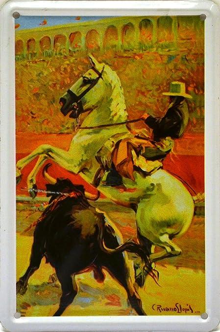 ART ESCUDELLERS Imán Cartel Poster publicitario de Chapa metálica con diseño Retro Vintage de Catalunya/España. Tin Sign. 11 cm x 7,3 cm (REJONEADOR): Amazon.es: Hogar