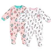 Pekkle Baby 2-Pack Footed Sleeper, Snap, Sleep & Play Onesie Unisex Pajamas, Puppies, 3 Months