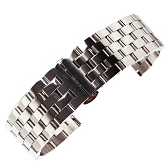 c48626a7bda 18mm Solid Stainless Steel Business Watch Bracelet in Silver Matte with  Butterfly Buckle