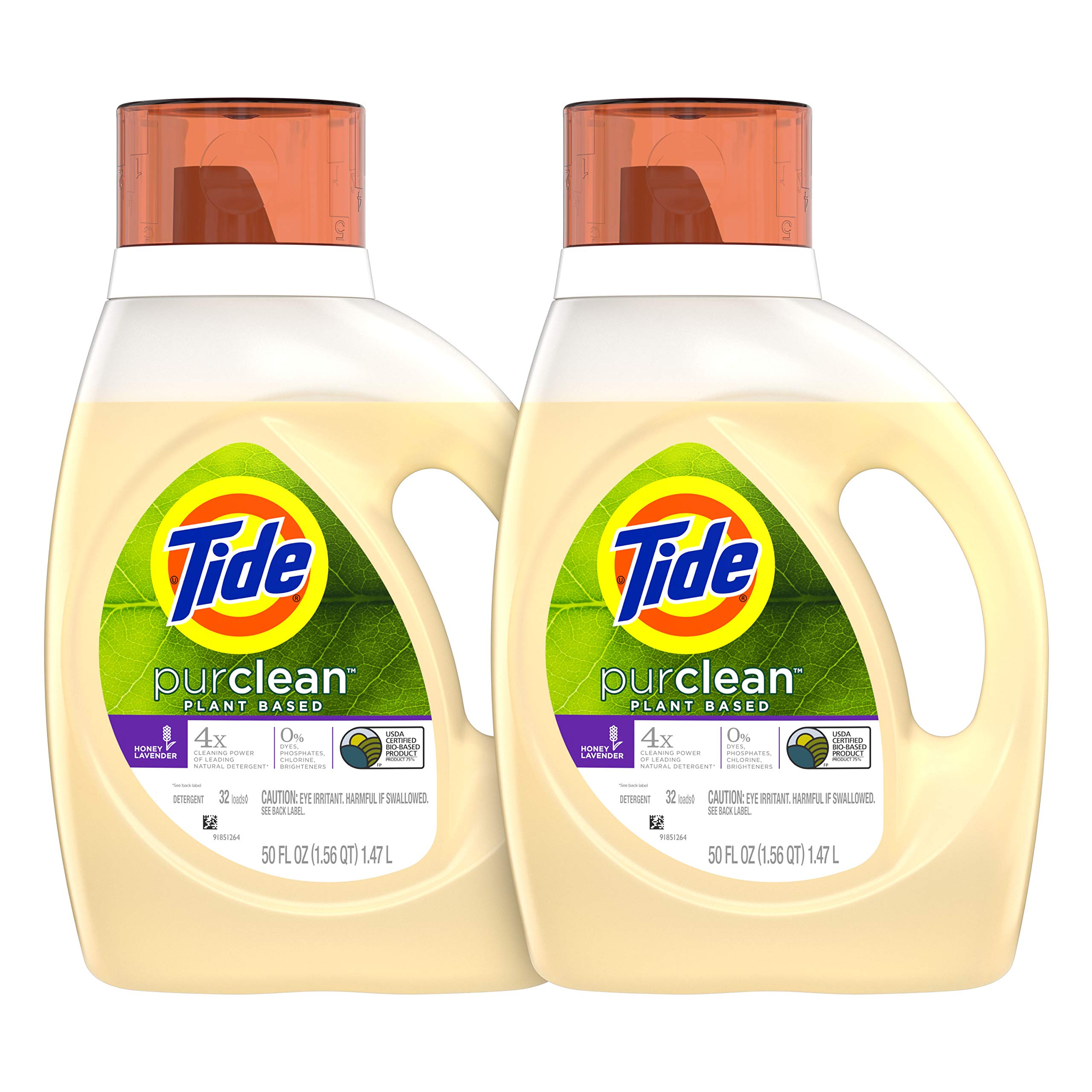 Tide Purclean Plant-Based Laundry Detergent Liquid, Honey Lavender Scent, 50 oz, Pack of 2, 64 Loads Total (Packaging May Vary) by Tide
