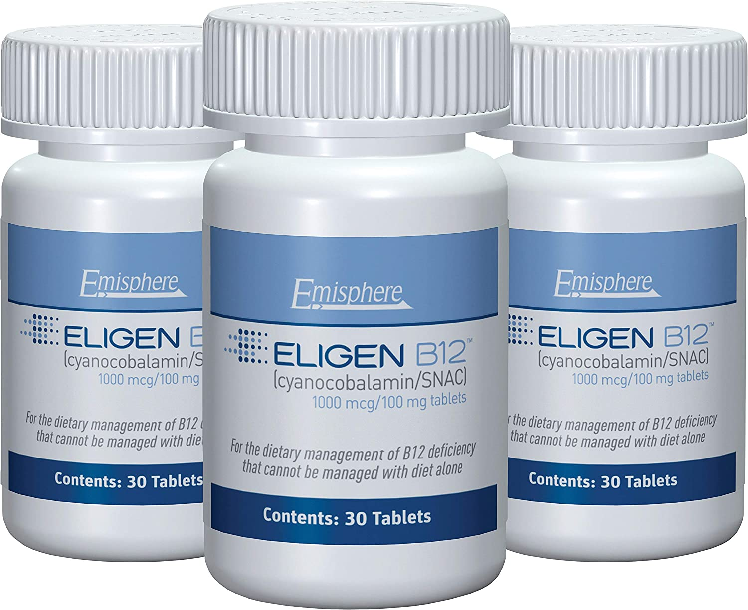 Eligen B12 Vitamin B-12 Tablets - 1000 mcg - Easy to Use - Clinically Proven to Be As Effective as Injections & Boosts Energy Level & Overall Health (3 Month Supply, 90 Count, Small Tablets)