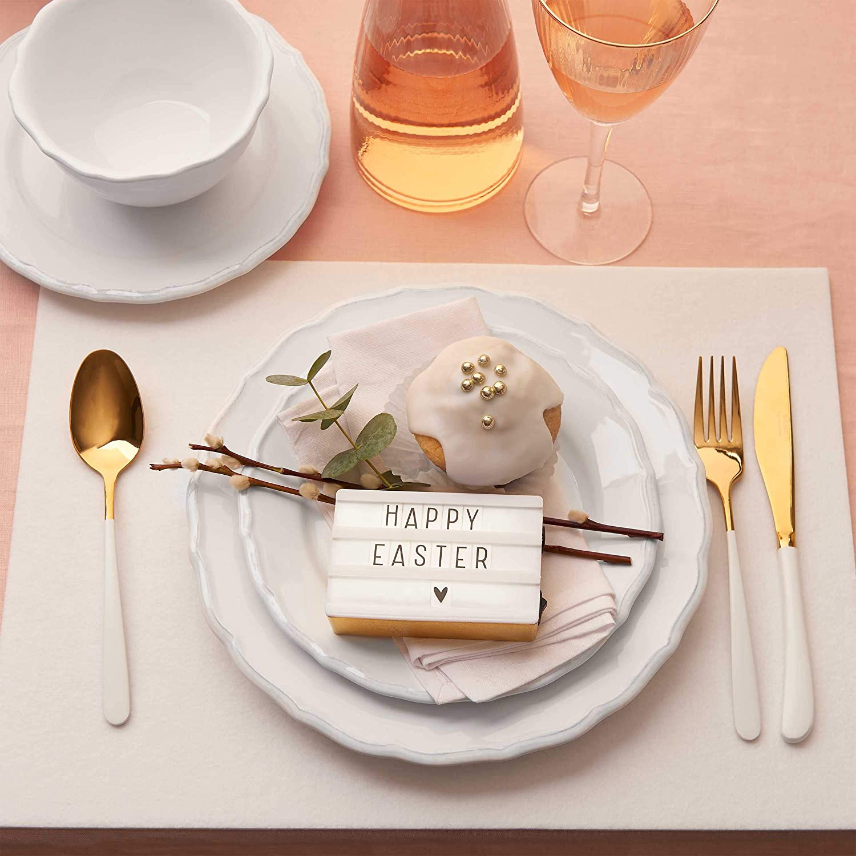 Geschirr-Set 6 wei/ße Teller in romantischem Stil BUTLERS Eaton Place Klassisches Salatteller-Set aus Keramik /Ø 22 cm