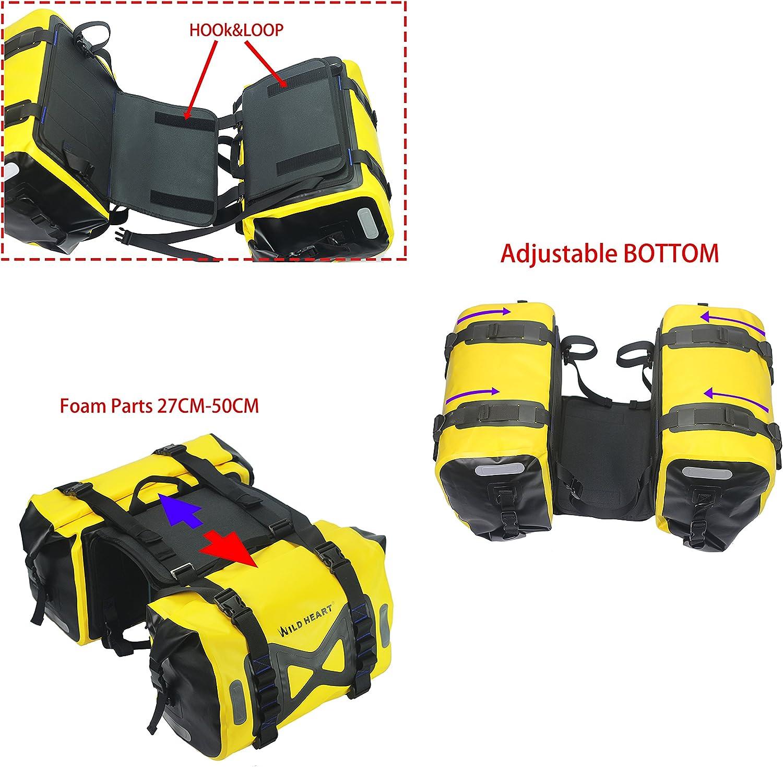 Black WILD HEART Waterproof bag Motorcycle saddlebag 50L Tank bag Motor Side bag