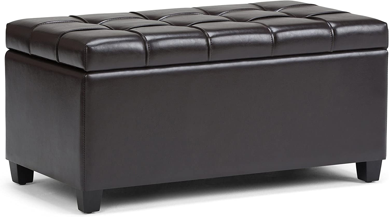 Simpli Home Sienna 34 inch Wide Rectangle Lift Top Storage Ottoman Bench in Tanners Brown Tufted Faux Leather, Footrest Stool, Coffee Table for the Living Room, Bedroom and Kids Room, Traditional