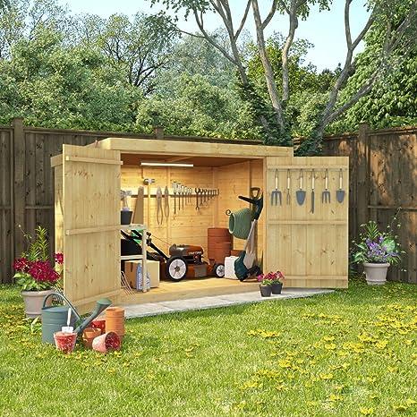 Cobertizo de madera de 6 x 4 lengua y Groove Pent bicicleta almacenamiento doble puerta techo