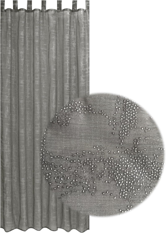 JEMIDI Schlaufenschal Transparent Glitzersteinchen 140cm x 235cm Schlaufengardine Schlaufenvorh/änge Schal Dekoschal mit Schlaufe Schlaufen Glitzergardine Dekogardine Wei/ß