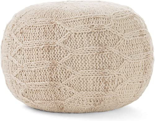 Magnolia Handwoven 100 Wool Pouf Ivory