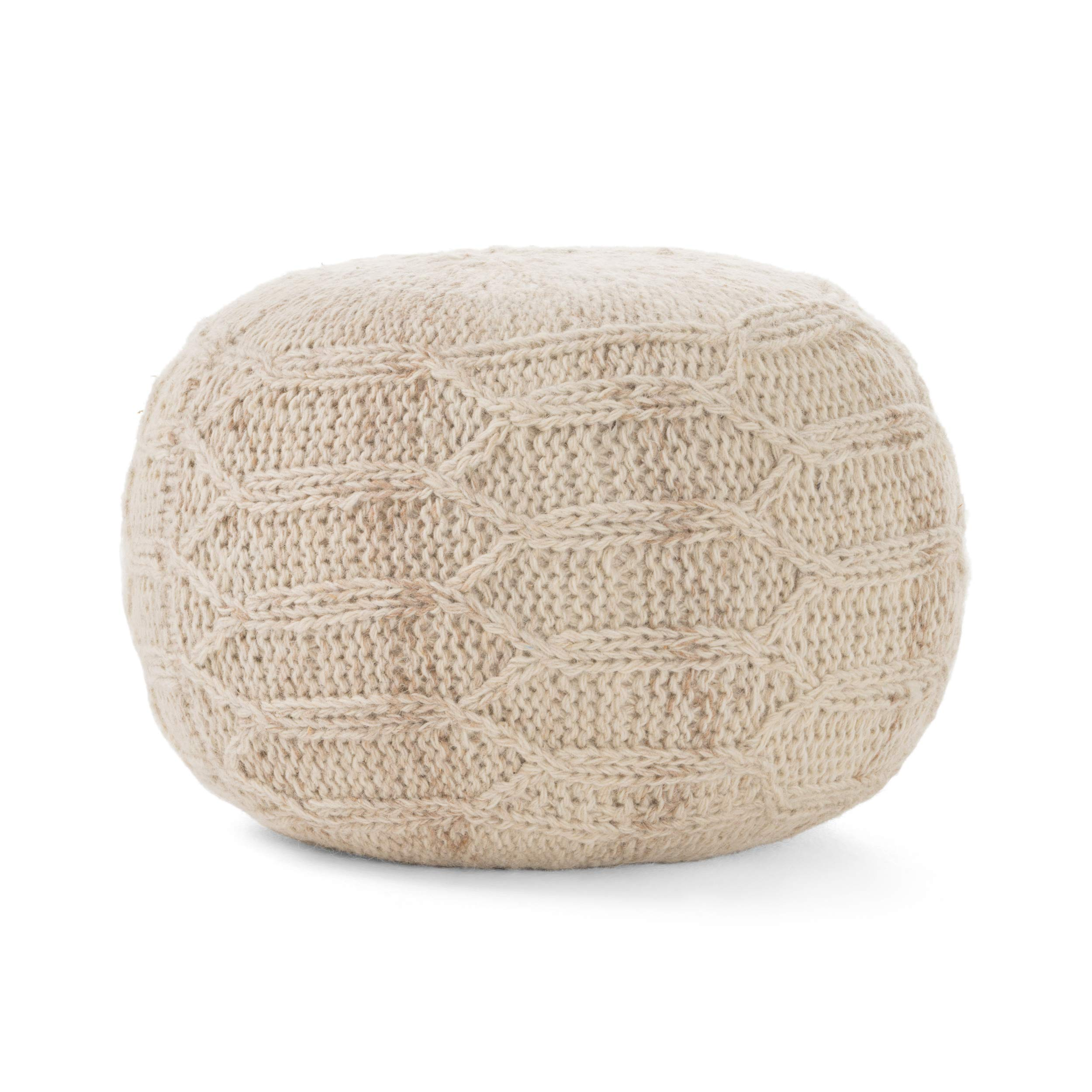 Christopher Knight Home Magnolia Handwoven 100% Wool Pouf (Ivory) by Christopher Knight Home