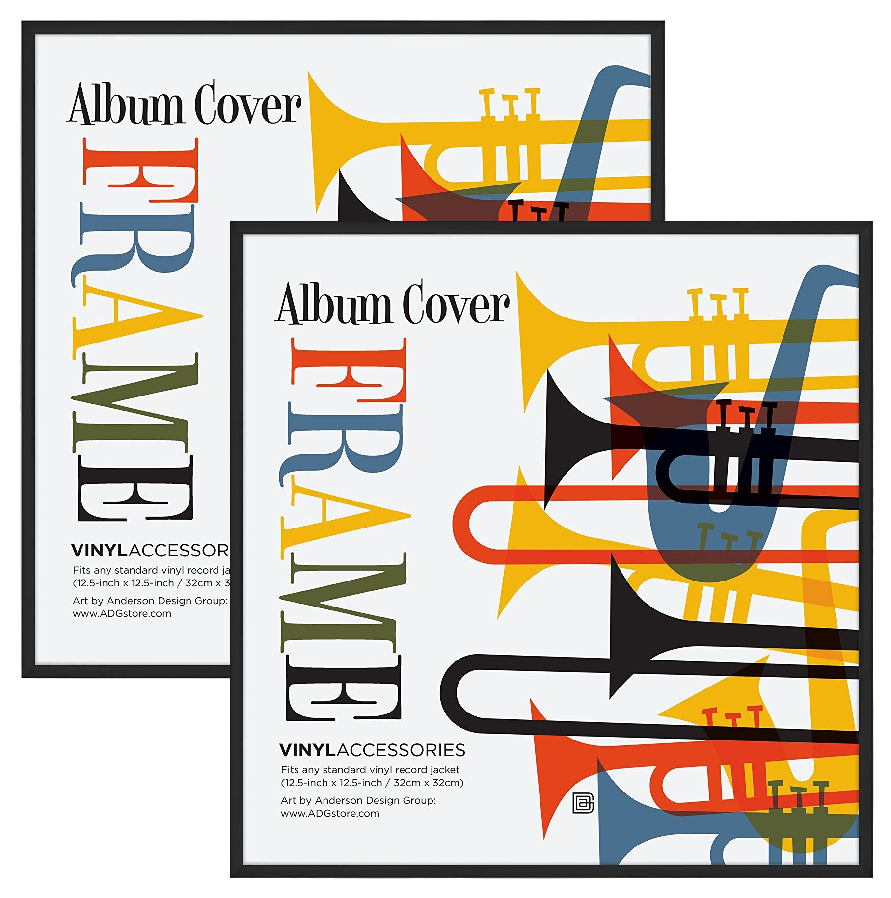Americanflat 2 Pack Album Frame - Display Album Covers 12.5''x12.5'' - Hanging Hardware Installed and No Assembly Required - Easy to Use Album Frame, Album Cover Frame by Americanflat