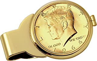 product image for Gold-Layered JFK 1964 First Year of Issue Half Dollar Goldtone Coin Money Clip