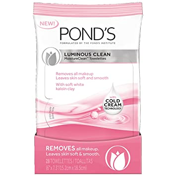 Ponds Moisture Clean Towelettes, Luminous Clean 28 ct (Pack of ...