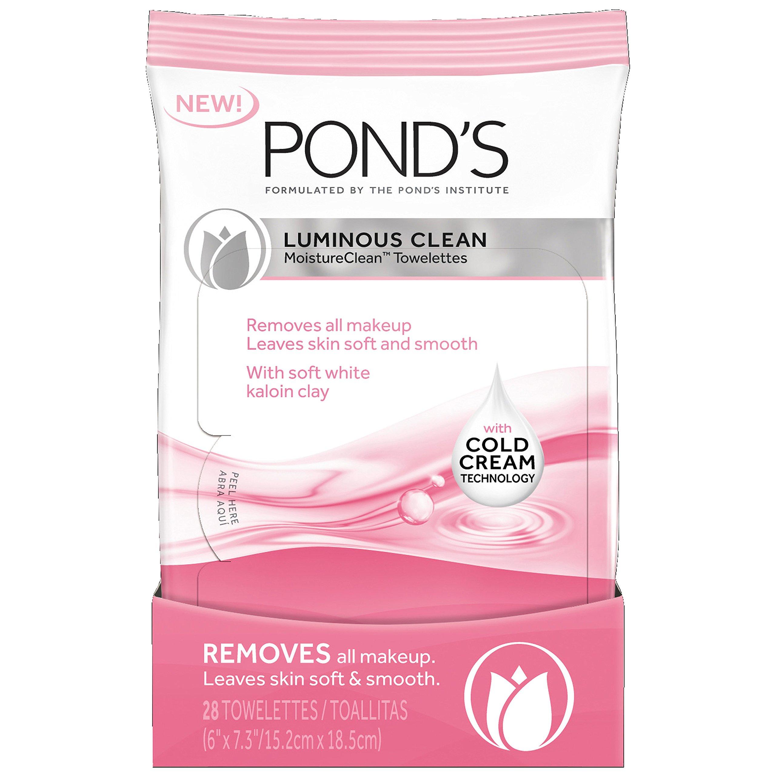 Amazon.com: Ponds Moisture Clean Towelettes, Luminous Clean 28 ct (Pack of 3): Beauty