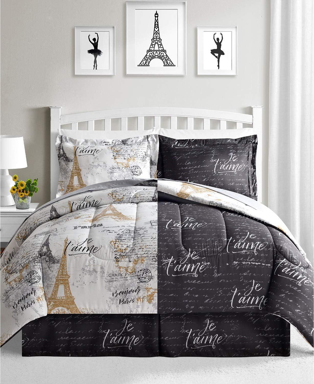 Fairfield Square Collection Paris Gold 8 Piece. Reversible Queen Comforter Set