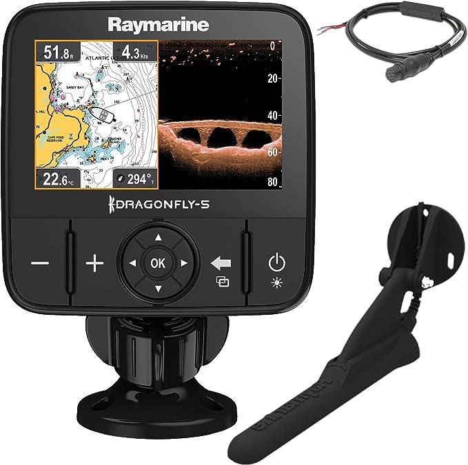 Raymarine Dragonfly 5PRO Sonda de Pesca GPS y CHIRP DownVision Incluye Transductor CPT-DVS Resistencia al Agua IPX6 y IPX7 E70293