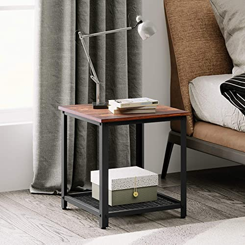 WLIVE Industrial Square End Table, 2-Tier Side Table with Mesh Storage Shelf, Wood Accent Furniture with Metal Frame, Adjustable, Easy Assembly, Rustic O9 Oak