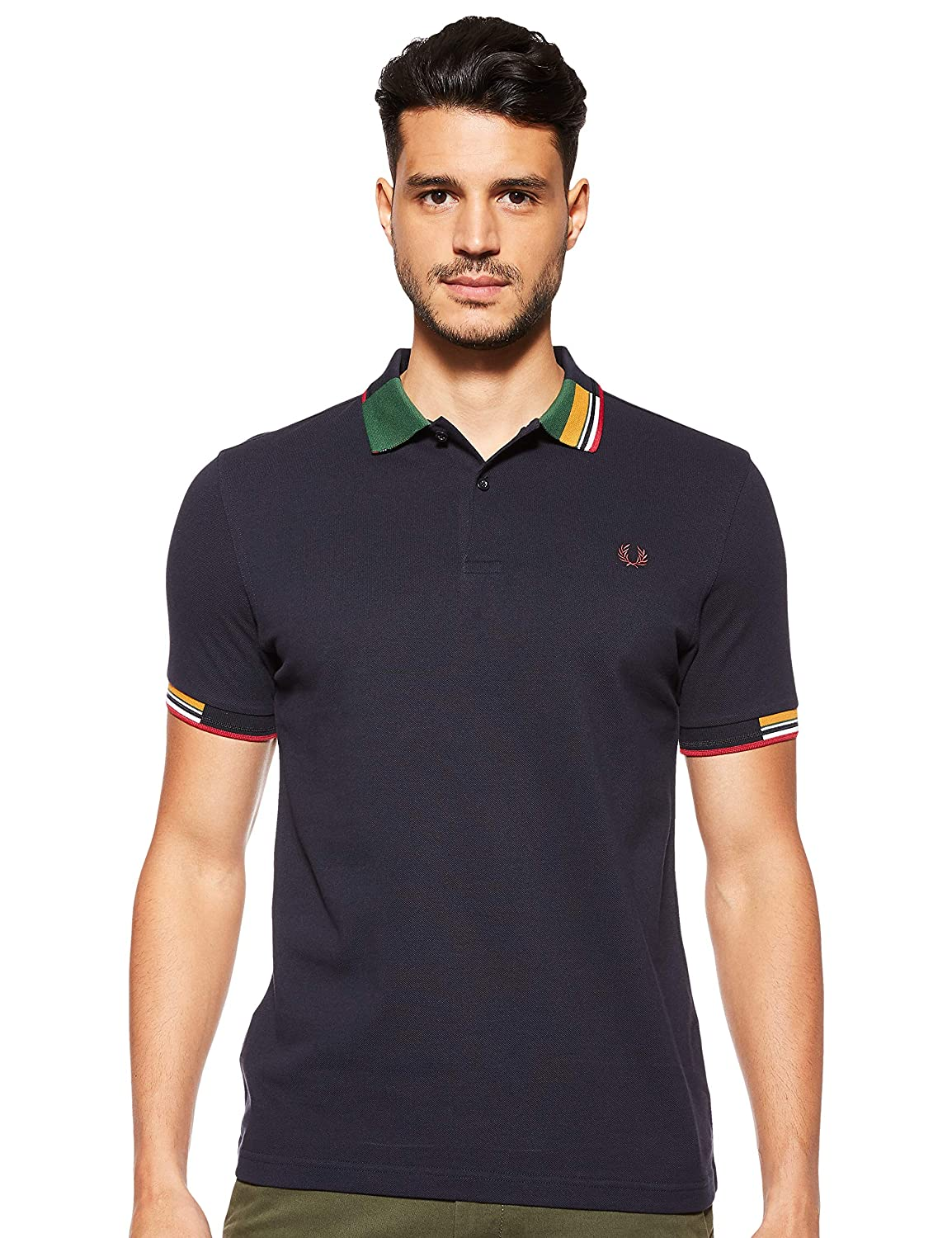 Fred Perry M5505-ABSTRACT Collar Pique SHIRT-608-M Polo, Azul ...