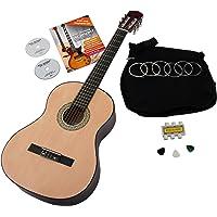 Classic Cantabile AS-851 4/4 concertgitaar starterset (complete beginnerset met klassieke gitaar, Gigbag tas, nylon snaren, lesboek/school incl. CD en DVD, 3x plectra en stemfluit)