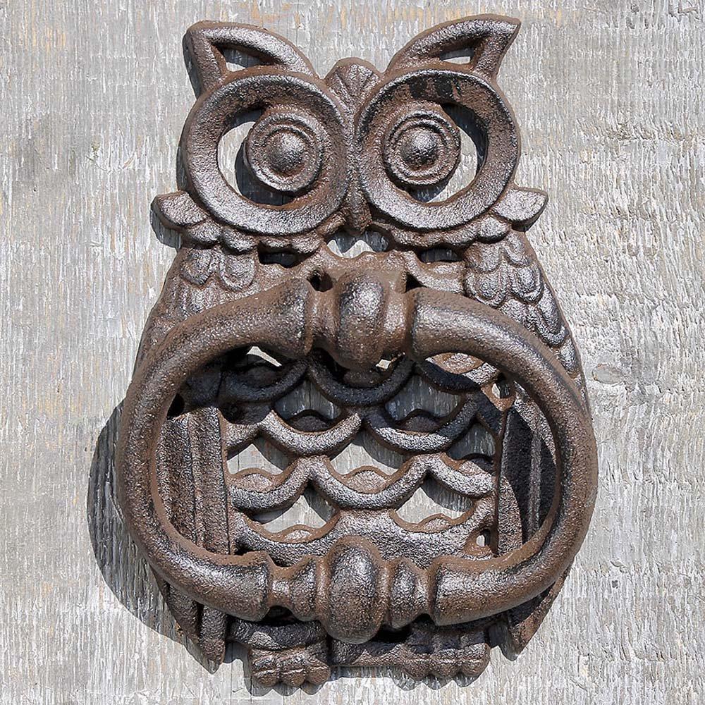 Haustür landhaus braun  Türklopfer EULE aus Gusseisen antik braun Eisen Uhu für die ...