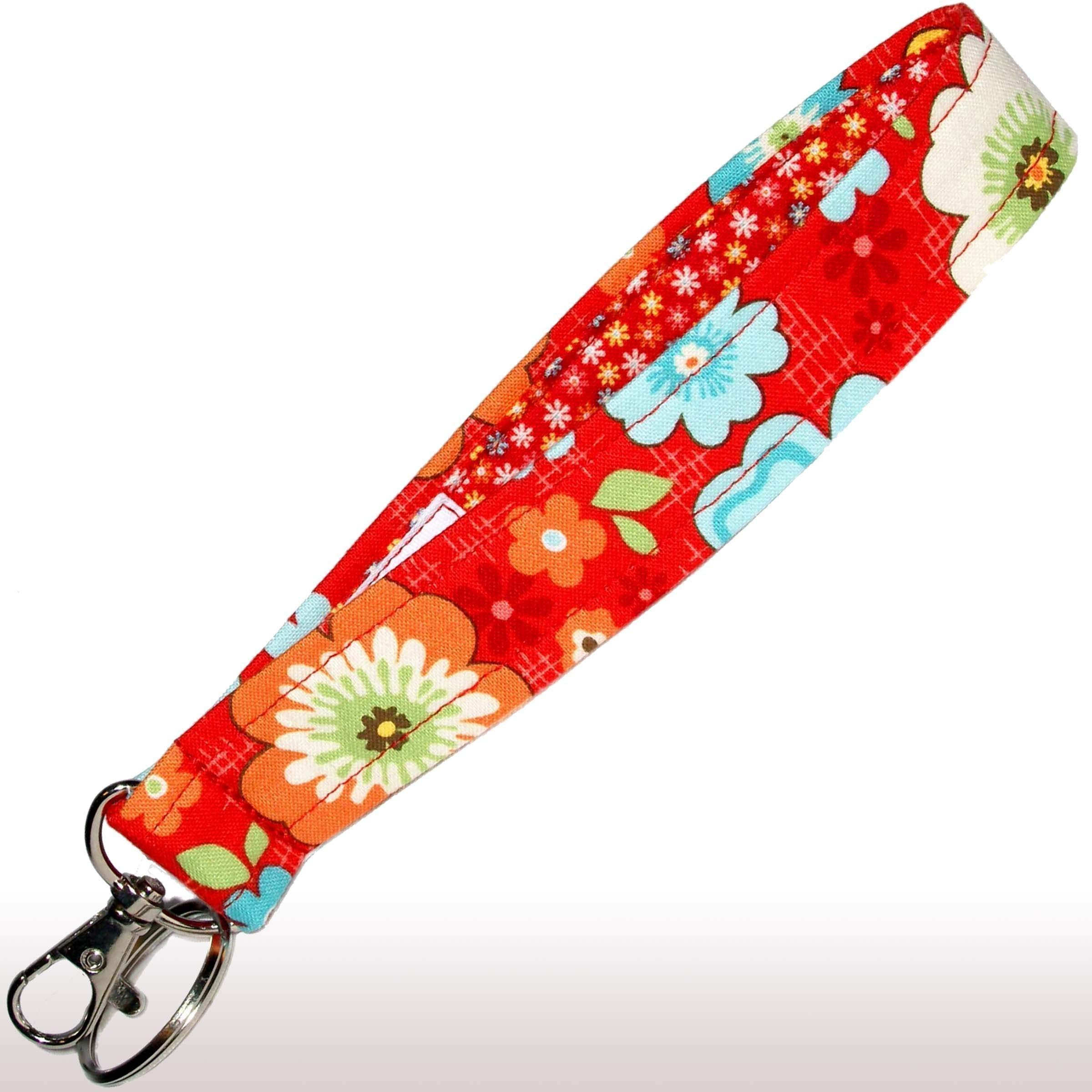 Red Floral Key Fob - 6'' Loop - Flower Keychain - Keychain Strap - Purse or Wallet Strap by Green Acorn Kitchen