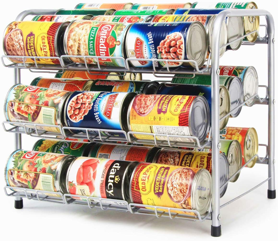 FlagShip Canned Food Soup Storage Organizer Pantry Can Organizer Holder, Stackable 3 Tier 36Capacity Can Dispenser Pantry Rack Organizr(Powder Silver Finish)