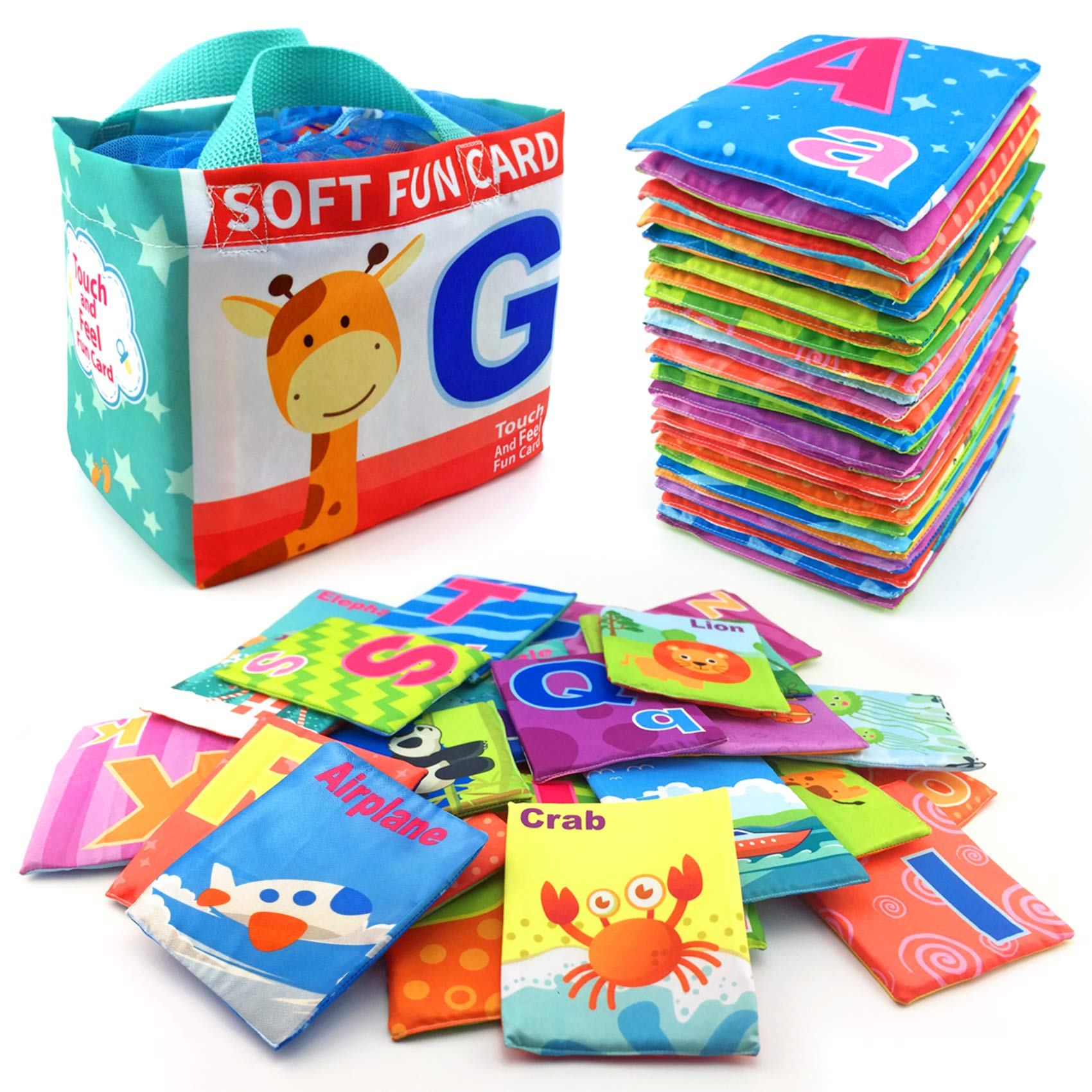 26 Pieces Soft Alphabet Cards with Cloth Storage Bag for Babies Infants, Toddlers and Kids ABCs Learning Flash Cards, Best Early Educational Toys for 0 1 2 3 Years Old Boys and Girls